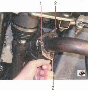 1 -  усик стопорной пластины; 2 - усики термоэкрана катколлектора