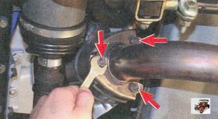 гайки крепления фланца приемной трубы дополнительного глушителя к фланцу катколлектора Лада Приора ВАЗ 2170