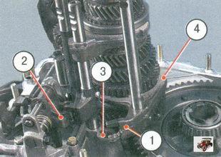 1 - головка штока; 2 - блокировочная скоба; 3 - опора; 4 - вилка штока