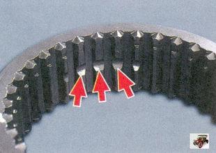 проточки на шлицах муфты синхронизатора