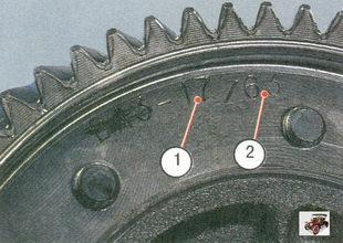 1 - число зубьев ведущей шестерни; 2 - число зубьев ведомой шестерни