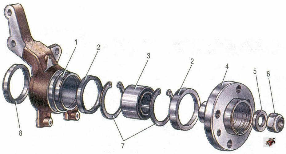 поворотный кулак и детали ступицы переднего колеса автомобиля Лада Приора ВАЗ 2170