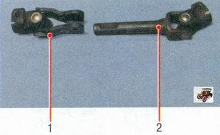1 - карданный шарнир рулевого управления; 2 - карданный вал рулевого управления с шарниром