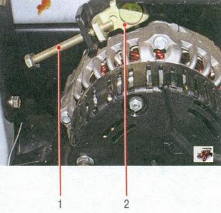 1 - регулировочный болт; 2 - снимите натяжную планку