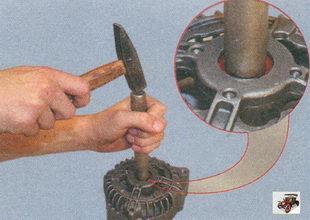 выпресовка подшипника из крышки генератора
