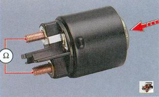 проверка контактных пластин контактного болта тягового реле стартера