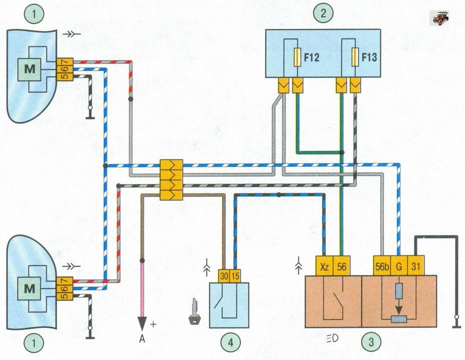 схема включения корректора света фар на автомобиле Лада Приора ВАЗ 2170