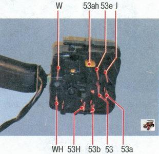номера контактов переключателя стеклоочистителя и стеклоомывателя