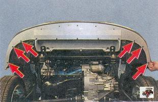 винты крепления переднего бампера к левому и правому защитным кожухам крыльев