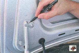 маркировка положения шайб на петлях крышки багажника