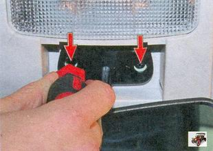 два винта крепления внутреннего зеркала заднего вида