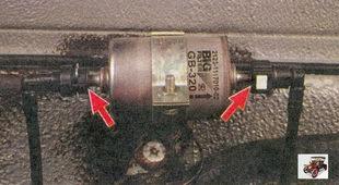 места соединения топливопроводов с фильтром тонкой очистки топлива лада приора ваз 2170