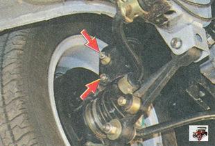 верхняя и нижняя гайки для регулировки угла развала передних колес на автомобиле лада приора ваз 2170