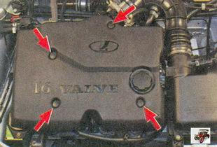места крепления декоративного кожуха двигателя Лада Приора ВАЗ 2170