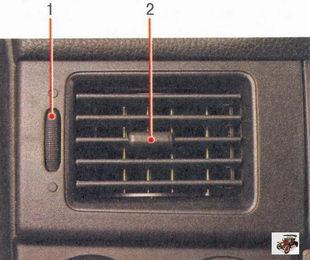 боковые сопла подачи воздуха к водителю и пассажиру на переднем сиденье или на стекла передних дверей