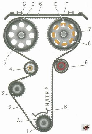 схема привода ГРМ (газораспределительного механизма) Лада Приора ВАЗ 2170