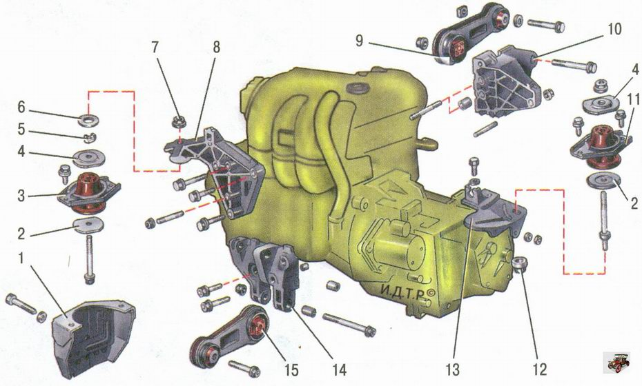 подвеска двигателя (силового агрегата) автомобиля Лада Приора ВАЗ 2170