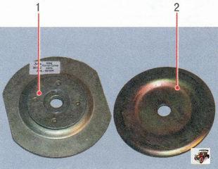 верхний 1 и нижний 2 ограничители подушки задней опоры двигателя