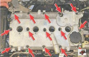 болты крепления крышки головки блока цилиндров Лада Приора ВАЗ 2170