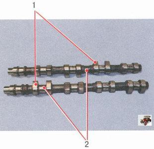 распредвалы Лада Приора ВАЗ 2170: 1 - рабочая поверхность кулачков, 2 - рабочая поверхность шеек