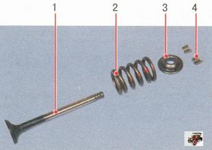 1 - клапан; 2 - пружина; 3 - тарелка; 4 - сухари