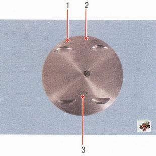 1 - класс поршня по диаметру; 2 - стрелка, показывающая направление установки поршня; 3 - модель двигателя