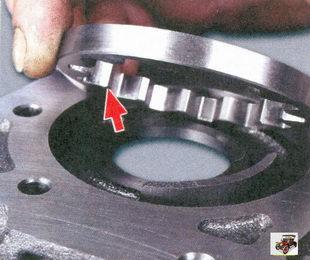 фаска на зубьях ведомой шестерни должна быть обращены к корпусу масляного насоса