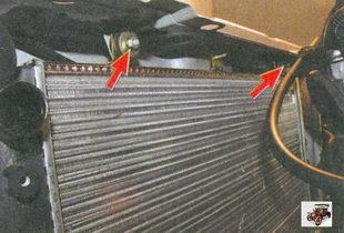 гайки крепления радиатора к кузову автомобиля Лада Приора ВАЗ 2170