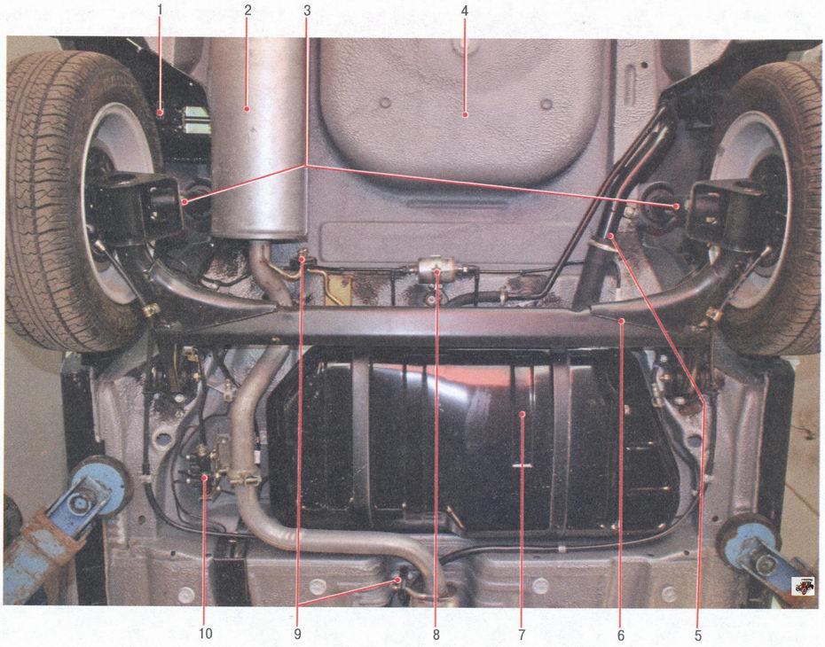 Расположение основных узлов агрегатов автомобиля ВАЗ 2170 Лада Приора (вид снизу сзади)