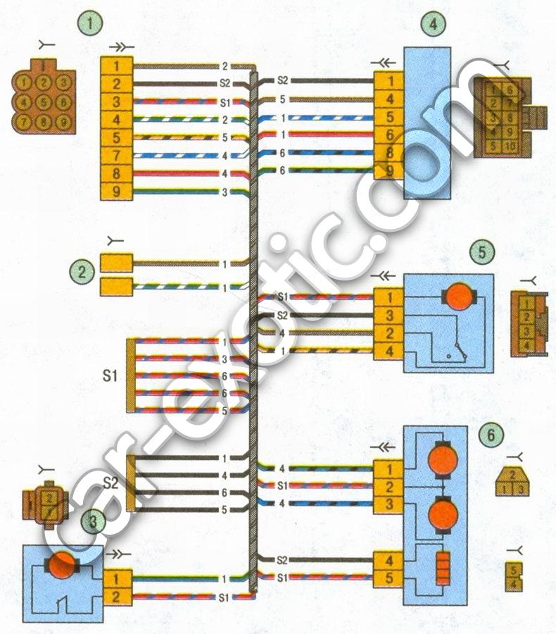Схема 6. Соединения жгута проводов левой передней двери автомобиль Лада Приора ВАЗ 2170: 1 - разъем жгута проводов.