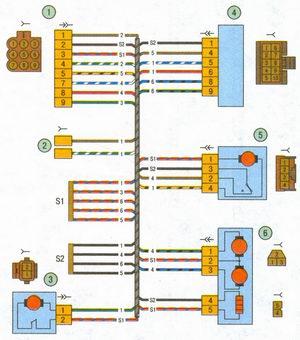 схема соединения жгута проводов левой передней двери автомобиль лада приора ваз 2170