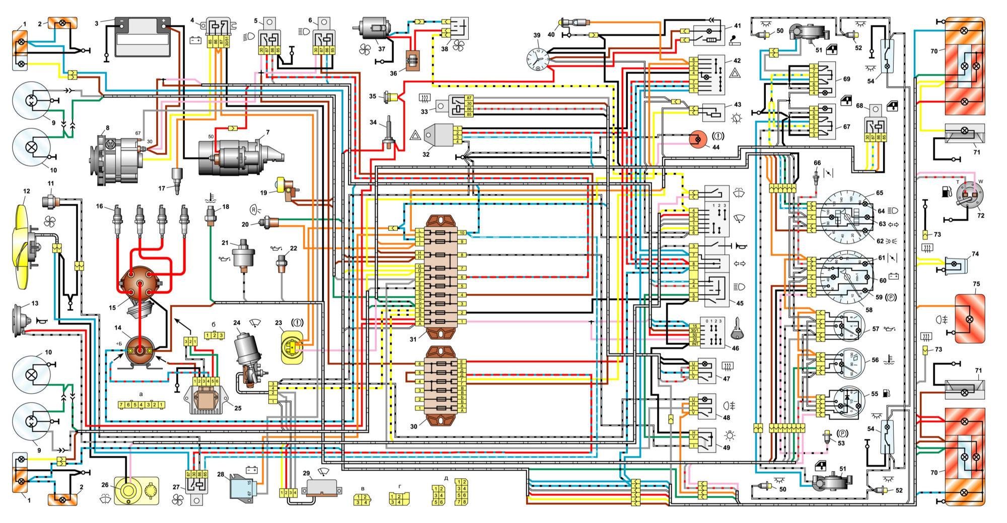 Електрична схема автомобіля ваз 2106.