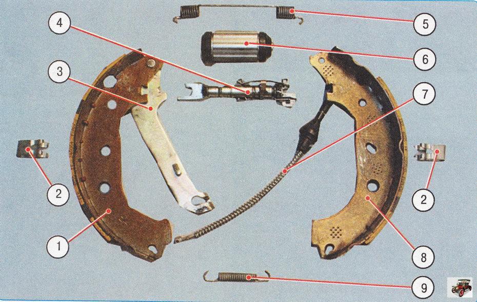 Детали тормозного механизма заднего колеса Форд Фокус 2