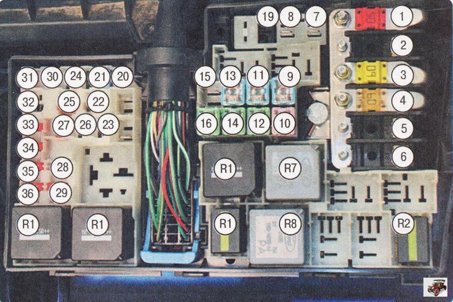 Номера предохранителей, плавких вставок и реле в монтажном блоке, расположенном в подкапотном пространстве автомобиля Форд Фокус 2