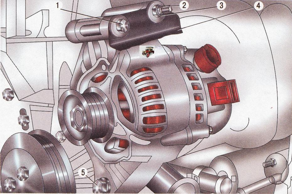 Крепление генератора на автомобиле Форд Фокус 2