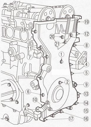 Крепление крышки привода ГРМ (газораспределительного механизма) Форд Фокус 2