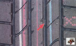 индикатор износа шины в виде сплошных поперечных полос на протекторе