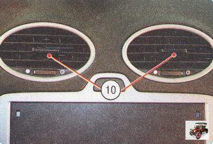 центральные сопла отопителя; место для установки магнитолы
