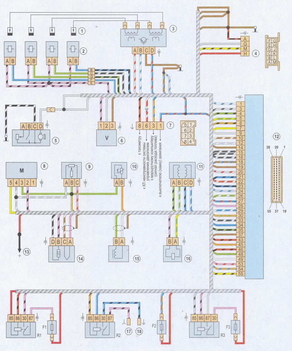 ...автомобилей Ваз 14 Схема электрических соединений ЭСУД GM, ВАЗ-2107 с. электрическая схема orion 50 72a.