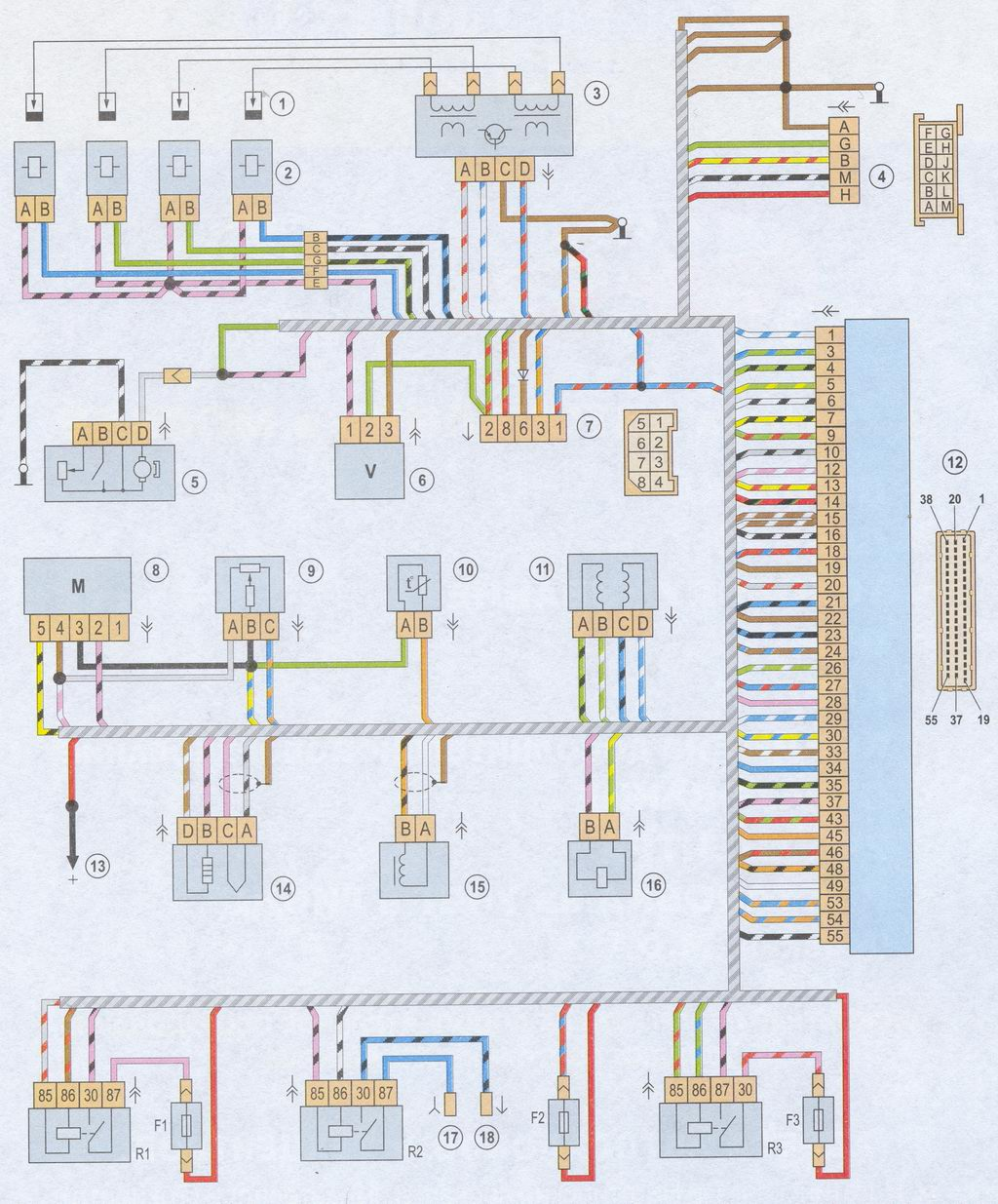 Сигнальные провода, сформированные в общий жгут, идущий от датчиков, бортовой сети.