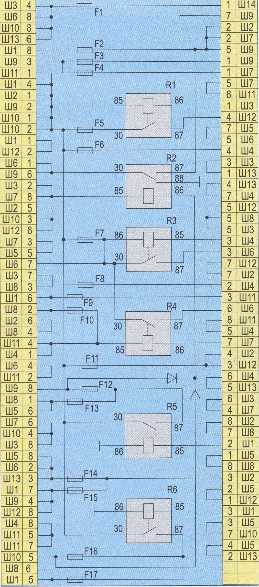 Электрическая схема монтажного блока реле и предохранителей автомобиля ВАЗ-2107.