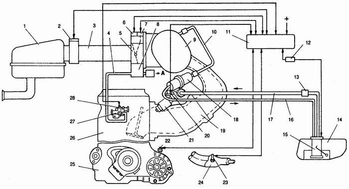 Схема системы впрыска:1 - воздушный фильтр; 2 - датчик массового расходавоздуха; 3 - шланг впускной трубы; 4...