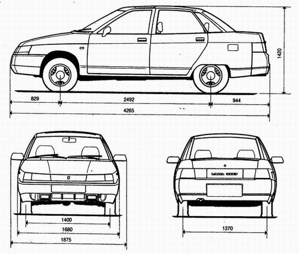 габаритные размеры автомобиля ваз 2110