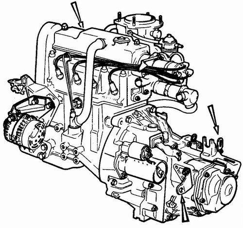 рымы для строповки двигателя при его снятии с автомобиля ваз 2110 - ваз 2111 - ваз 2112