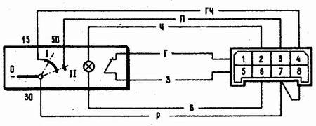 схема соединений выключателя зажигания