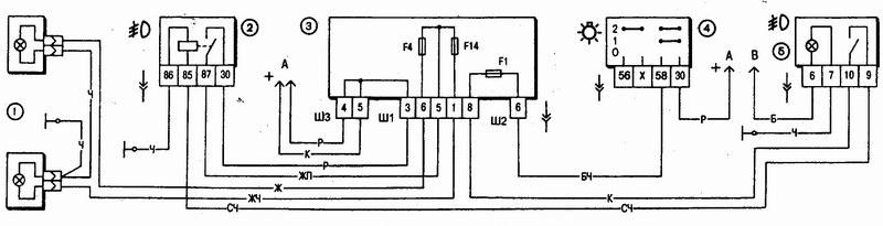 переключатель поворотов ваз 2107 схема. схемы ваз.