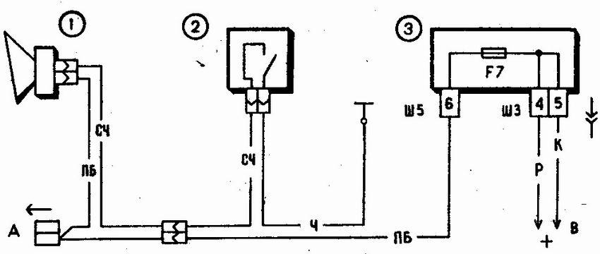 Схема включения звукового сигнала автомобилей семейства ваз 2110: 1 - звуковой сигнал; 2 - выключатель звукового...