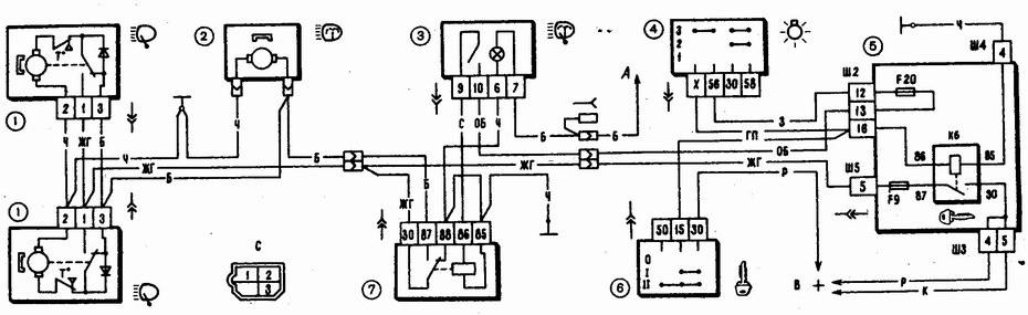 Схема включения очистителей фар на автомобилях ваз 2110, ваз 2111, ваз 2112: 1 - моторедукторы очистителей фар; 2...