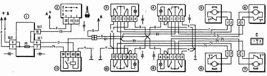 схема включения электростеклоподъемников ваз 2110 - ваз 2111 - ваз 2112
