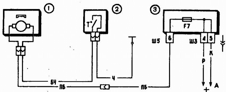 ...электродвигатель вентилятора; 2 - датчик включения электродвигателя; 3 - монтажный блок; А - к источникам питания.